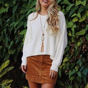 NEW Brandy Melville Corduroy Mini Skirt in Camel